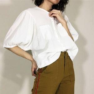 French Girl Linen Blend White Peasant Blouse
